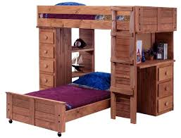 bedroom rustic carbonized white oak wood bunk bed with wheeled