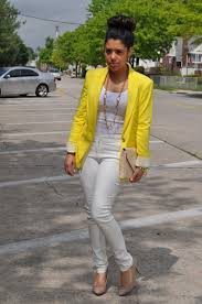What Colors Go With Yellow by White Pants U0026 Yellow Blazer Naty Michele