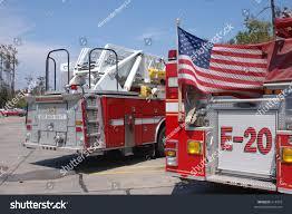 american flag truck back two fire trucks american flag stock photo 614310 shutterstock