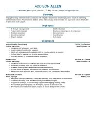 Sample Of A Receptionist Resume by Unforgettable Administrative Coordinator Resume Examples To Stand