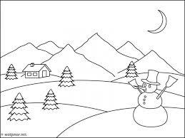 Coloriage Montagne et lhomme de neige dessin gratuit à imprimer