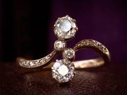 1890s art nouveau two diamond ring erie basin
