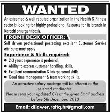 Front Desk Officer Front Desk Officer In Karachi