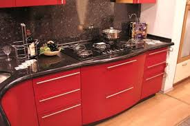Red Kitchen Countertop - red color can revolutionize small kitchen design