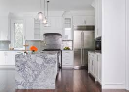 Kitchen Island Contemporary - waterfall marble kitchen island contemporary kitchen