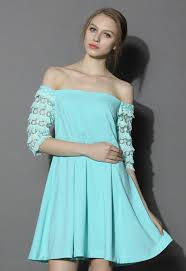 indulged off shoulder dress in mint blue retro indie and unique
