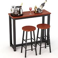 dining room stools amazon com tribesigns 3 piece pub table set counter height dining