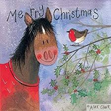 alex clark charity christmas cards horse and holly pack of 5 1