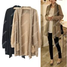 fashion splice knitted sleeve cardigan sweaters