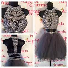 sale two piece prom dresses 2016 grey sheer high neckline