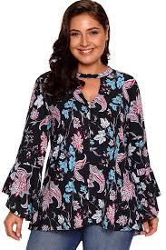 plus size blouse black choker v neck floral print flare sleeve plus size blouse