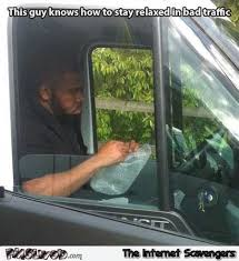 Traffic Meme - this guy knows how to stay relaxed in bad traffic meme pmslweb