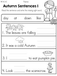 autumn kindergarten no prep language arts worksheets language
