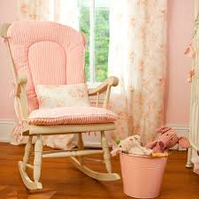 Baby Nursery Rocking Chair Furniture White Painted Wooden Nursery Rocking Chair With Pink