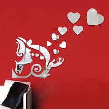 baise dans la chambre beauté baiser amour coeur miroir mur autocollants autocollant
