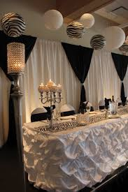 white and black backdrop puffy barrel table skirt table decor