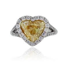 heart shaped diamond engagement ring platinum 2 01ct fancy yellow heart shaped diamond engagement ring