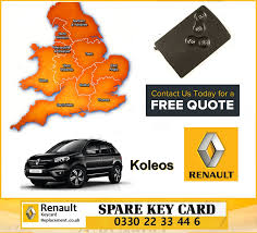 renault koleos 2014 replacement 4 button remote key card for renault koleos