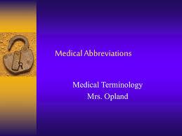 medical abbreviations review