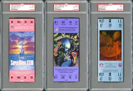 lot detail super bowl psa graded ticket collection of 31 full