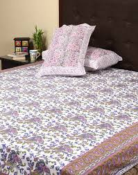 navy bedspread white beautiful cotton floral decor indian vintage