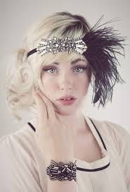 deco flapper feather headband antique beading with