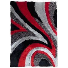 rug addiction shag area rug hand tufted with black grey red 5