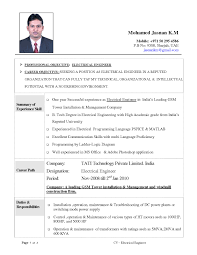 resume format for electrical engineering freshers pdf download sle resume electrical engineer fresher new formidable marine