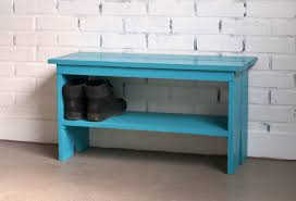 wooden bench with vintage turquoise finish indoor cottage