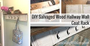 salvaged wood hallway wall coat rack