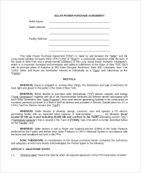 sample power purchase agreement 10 examples in word pdf