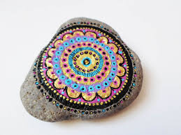 mandala art painted stone rock art pebble stone art hand