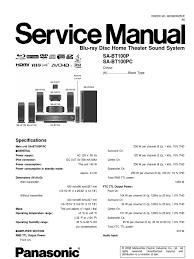 service repair manual for panasonic sa bt100p