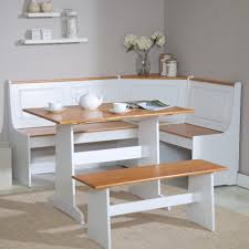 Kitchen Nook Table And Chairs by White And Natural Breakfast Nook Table With Two Benches Rubberwood