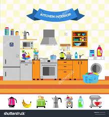 cute kitchen appliances cartoon cute kitchen interior flat design stock vector with great
