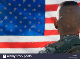 Army Ranger Flag Us Army Soldier Looking At Flag Back View Stock Photo Royalty