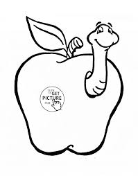 apple with funny worm fruit coloring page for kids fruits