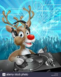 a cartoon christmas reindeer dj with headphones on at the record
