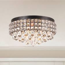 Crystal Flush Mount Lighting Jolie Iron Shade Crystal Flush Mount Chandelier By The Lighting