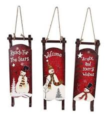 set of 3 sleighs painted snowman decoration