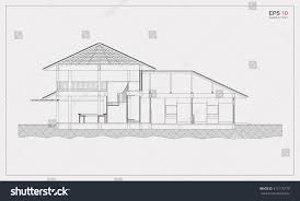 architectural blueprint drawing house section vector stock vector