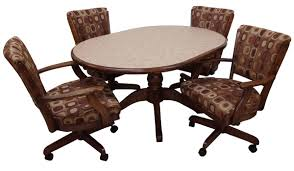 kitchen table and chairs with casters leather dining chairs with casters