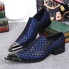 Peacock High Heels Blue Peacock Tail Print Men Dress Shoes Pointed Toe Wedding Shoes