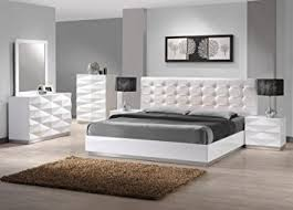 Amazoncom JM Furniture Verona Modern White Lacquer  Leather - Modern white leather bedroom set