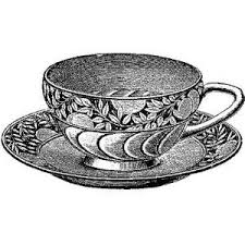 drawn teacup victorian pencil and in color drawn teacup victorian