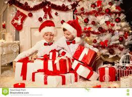 christmas family portrait room interior xmas tree present gift