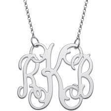 3 initial monogram necklace sterling silver personalized sterling silver fancy 3 initial monogram necklace
