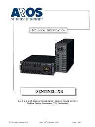ups aros sentinel xr 3300 6000 pdf electrical connector power