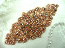 bridal sash gold applique glass rhinestones gold bridal