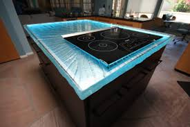 Kitchen Island Stove Top Countertops Induction Gas Stove Top Blue Glass Countertop Black